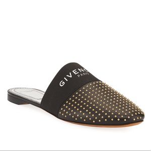 GIVENCHY BEDFORD FLAT STUDDED LEATHER LOGO MULE